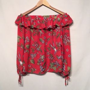 Nanette Lepore Off the Shoulder Hummingbird Blouse